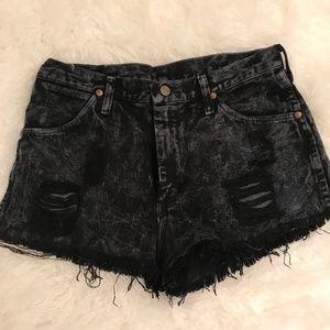 Dark Blue Distressed Jean Shorts